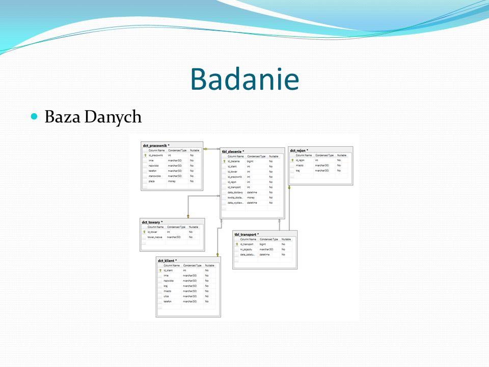 Baza Danych Badanie