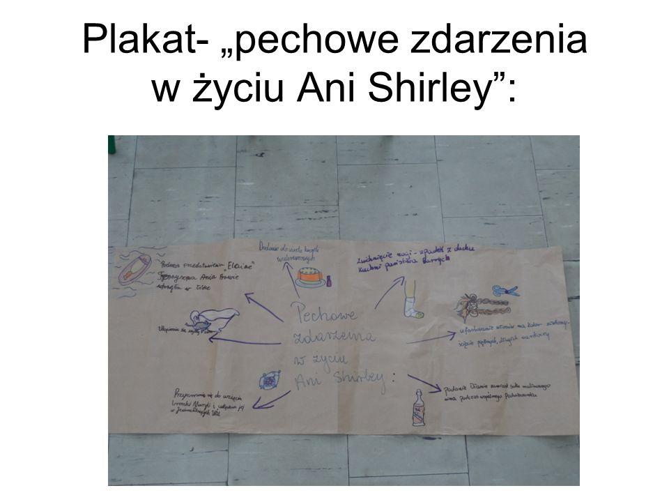 """Plakat- """"pechowe zdarzenia w życiu Ani Shirley"""":"""