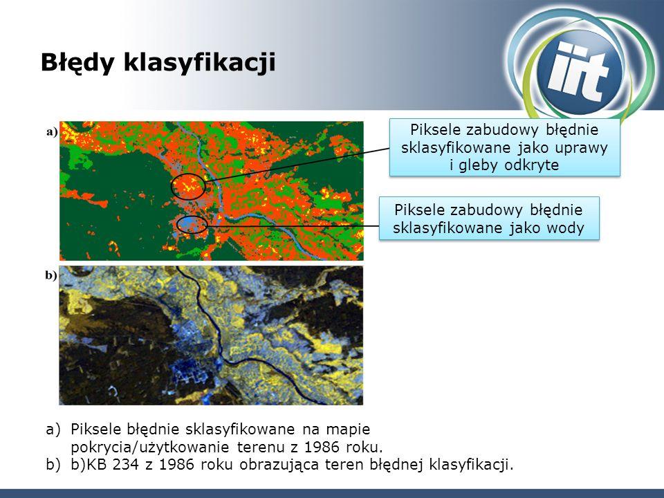 Błędy klasyfikacji a)Piksele błędnie sklasyfikowane na mapie pokrycia/użytkowanie terenu z 1986 roku.