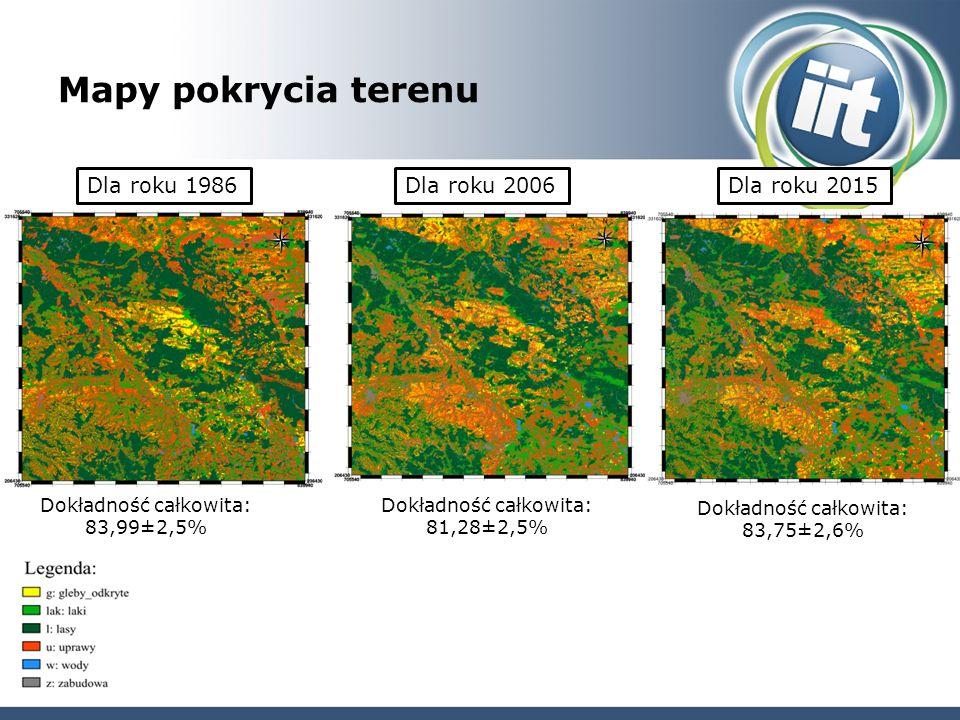 Mapy pokrycia terenu Dla roku 1986Dla roku 2006Dla roku 2015 Dokładność całkowita: 83,99±2,5% Dokładność całkowita: 81,28±2,5% Dokładność całkowita: 83,75±2,6%