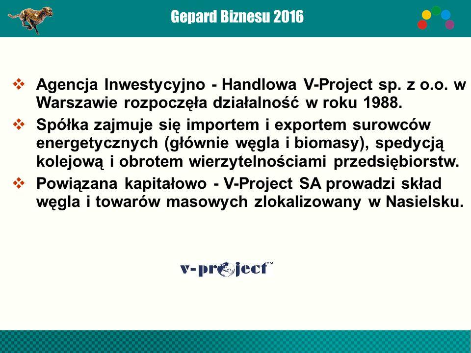 Gepard Biznesu 2016  Agencja Inwestycyjno - Handlowa V-Project sp.