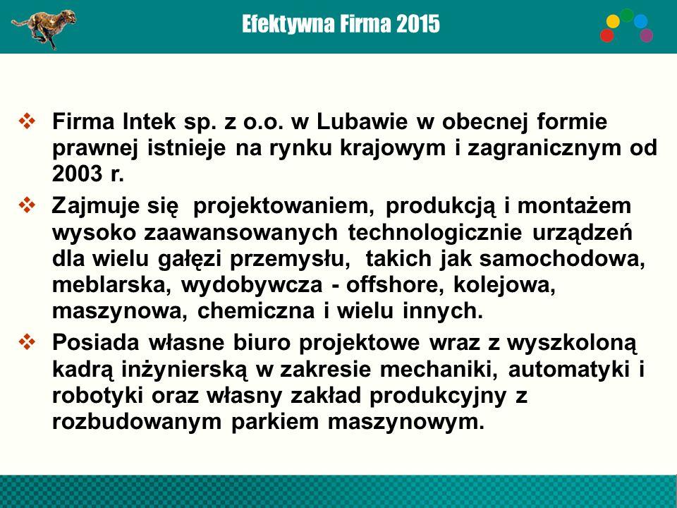 Efektywna Firma 2015  Firma Intek sp. z o.o.