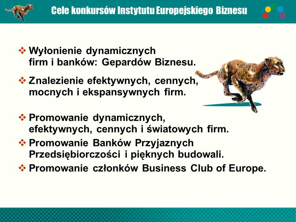 Cele konkursów Instytutu Europejskiego Biznesu  Wyłonienie dynamicznych firm i banków: Gepardów Biznesu.
