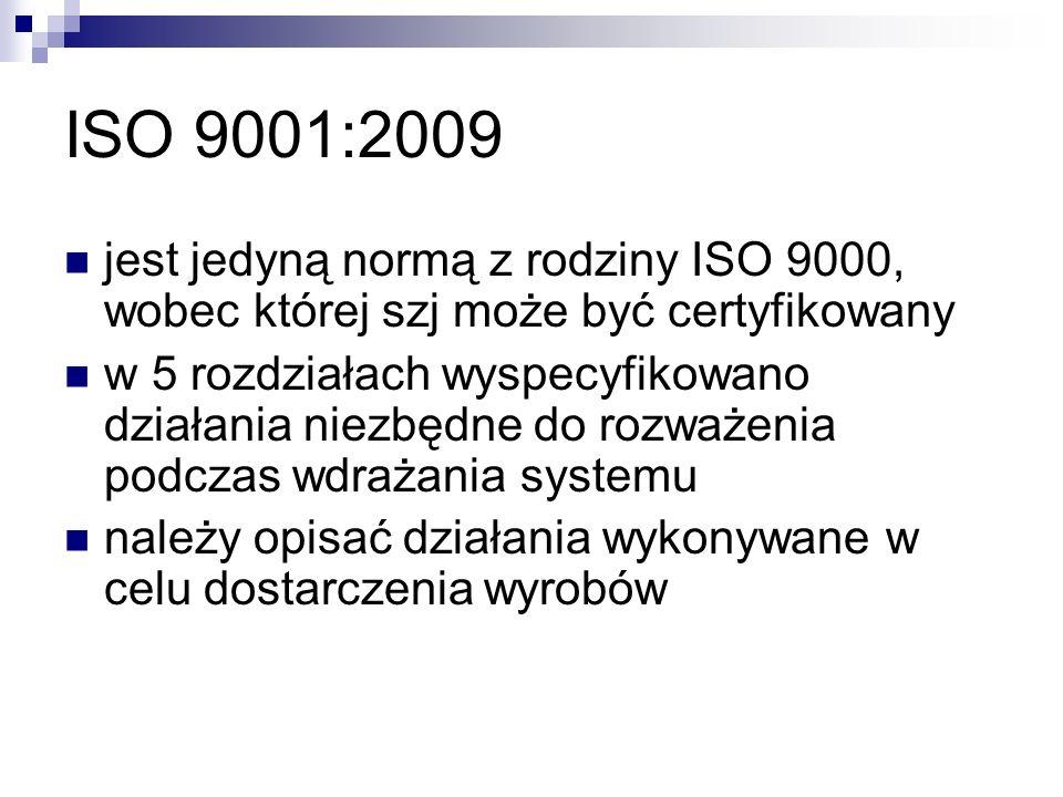ISO 9001:2009 jest jedyną normą z rodziny ISO 9000, wobec której szj może być certyfikowany w 5 rozdziałach wyspecyfikowano działania niezbędne do rozważenia podczas wdrażania systemu należy opisać działania wykonywane w celu dostarczenia wyrobów