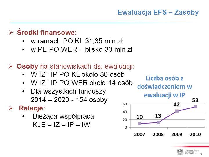 3  Środki finansowe: w ramach PO KL 31,35 mln zł w PE PO WER – blisko 33 mln zł  Osoby na stanowiskach ds.