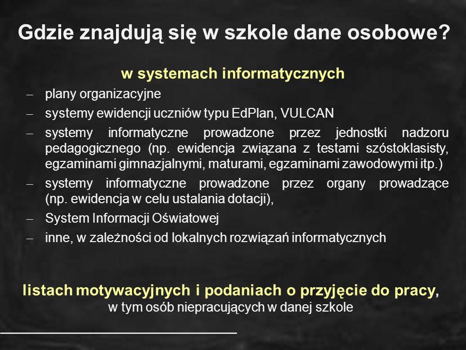 Gdzie znajdują się w szkole dane osobowe? w systemach informatycznych  plany organizacyjne  systemy ewidencji uczniów typu EdPlan, VULCAN  systemy