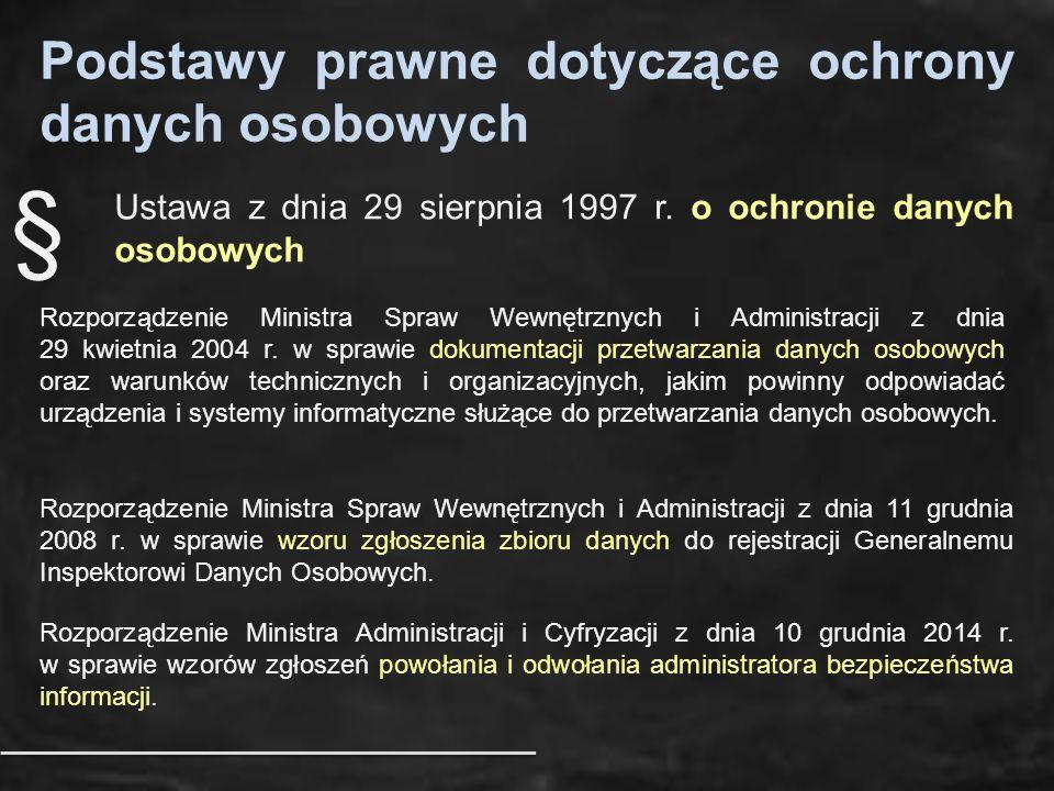 Podstawy prawne dotyczące ochrony danych osobowych Ustawa z dnia 29 sierpnia 1997 r. o ochronie danych osobowych Rozporządzenie Ministra Spraw Wewnętr