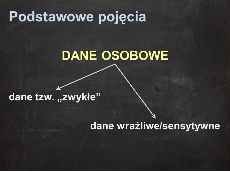 """Podstawowe pojęcia DANE OSOBOWE dane tzw. """"zwykłe"""" dane wrażliwe/sensytywne"""