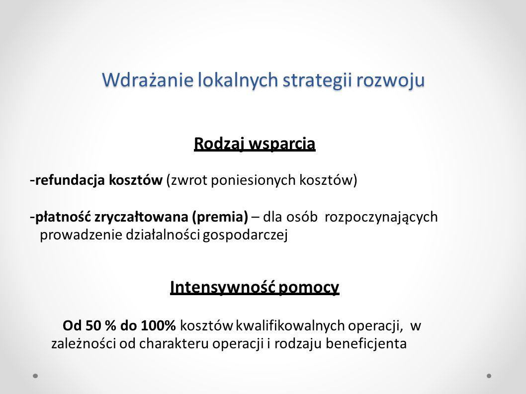 Wdrażanie lokalnych strategii rozwoju Rodzaj wsparcia - refundacja kosztów (zwrot poniesionych kosztów) - płatność zryczałtowana (premia) – dla osób r