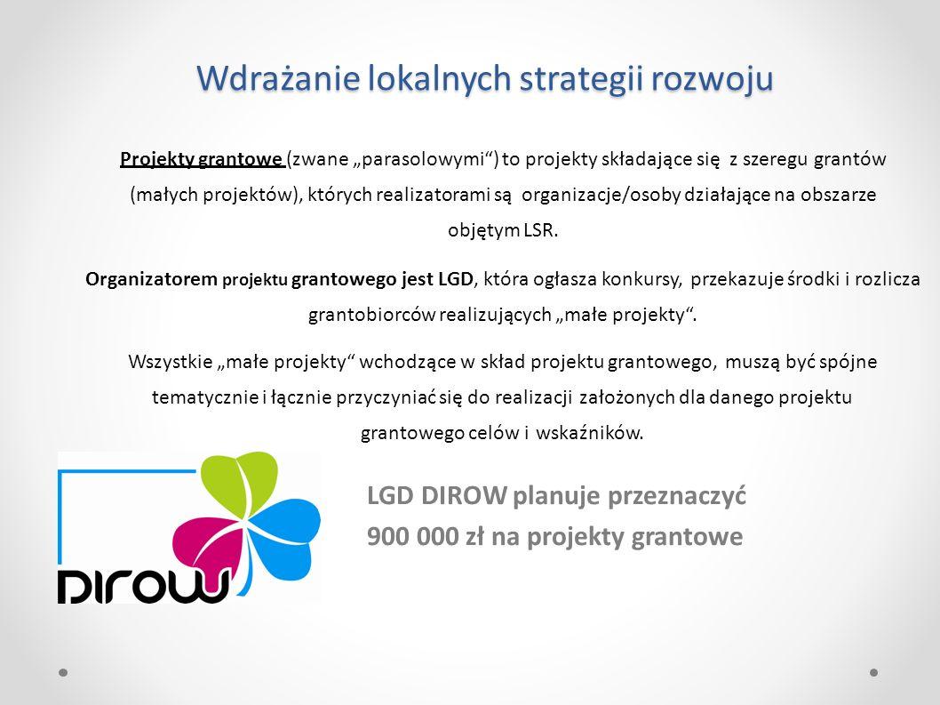"""Wdrażanie lokalnych strategii rozwoju LGD DIROW planuje przeznaczyć 900 000 zł na projekty grantowe Projekty grantowe (zwane """"parasolowymi ) to projekty składające się z szeregu grantów (małych projektów), których realizatorami są organizacje/osoby działające na obszarze objętym LSR."""