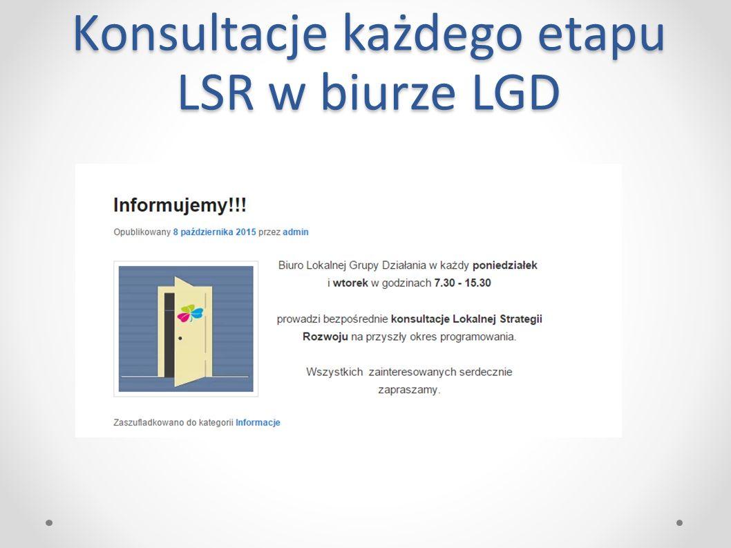 Konsultacje każdego etapu LSR w biurze LGD
