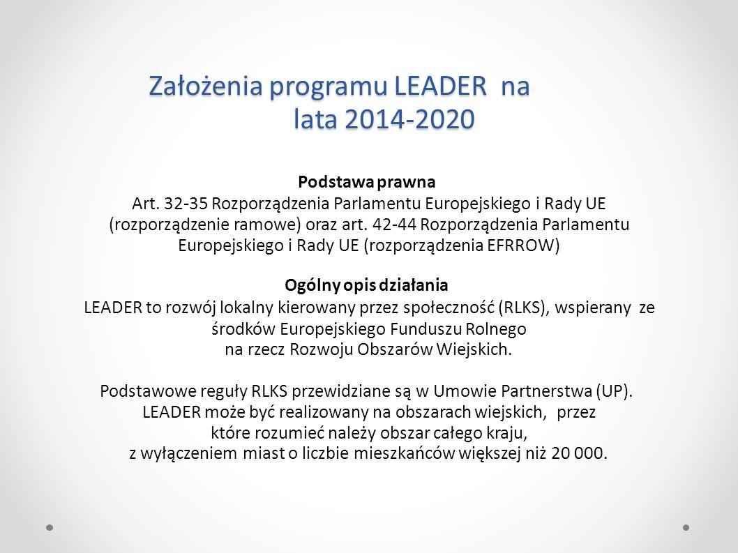 Założenia programu LEADER na lata 2014-2020 Podstawa prawna Art. 32-35 Rozporządzenia Parlamentu Europejskiego i Rady UE (rozporządzenie ramowe) oraz