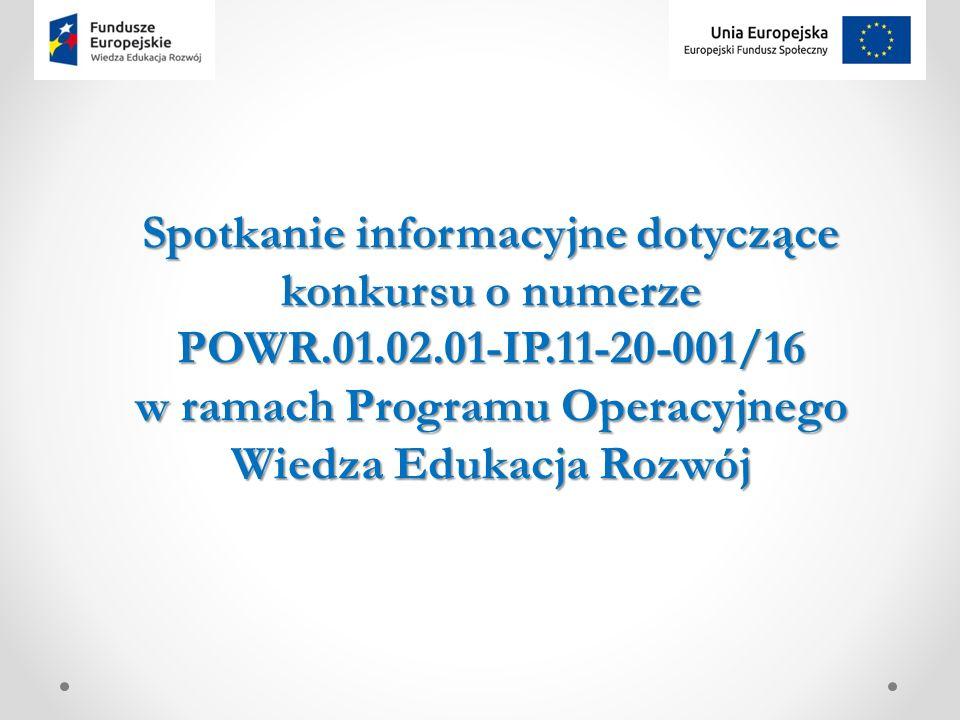 Spotkanie informacyjne dotyczące konkursu o numerze POWR.01.02.01-IP.11-20-001/16 w ramach Programu Operacyjnego Wiedza Edukacja Rozwój