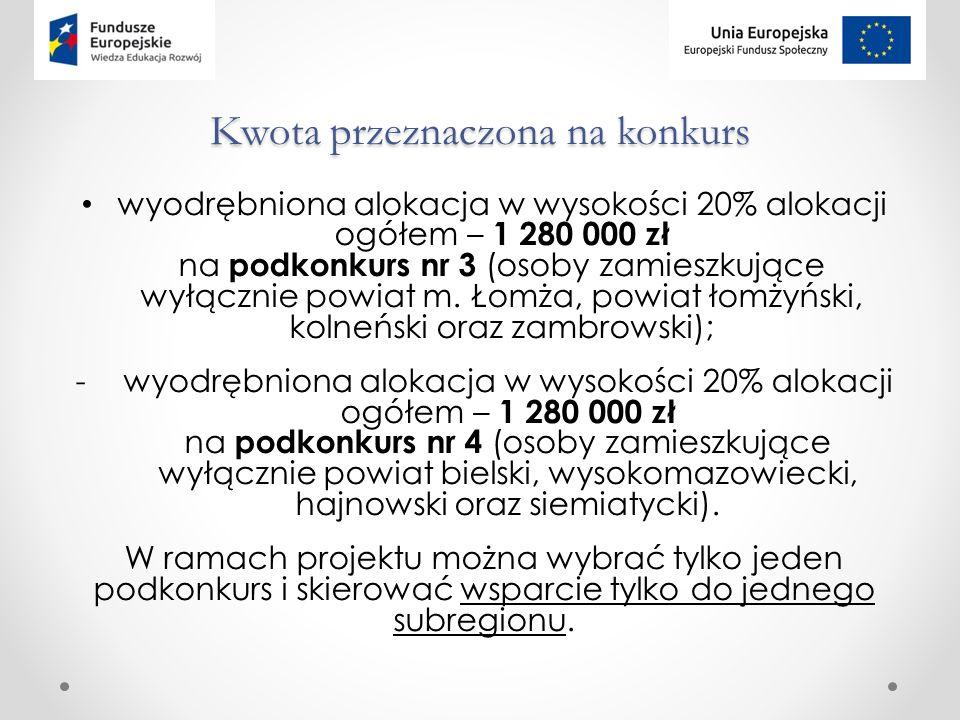 Kwota przeznaczona na konkurs wyodrębniona alokacja w wysokości 20% alokacji ogółem – 1 280 000 zł na podkonkurs nr 3 (osoby zamieszkujące wyłącznie powiat m.