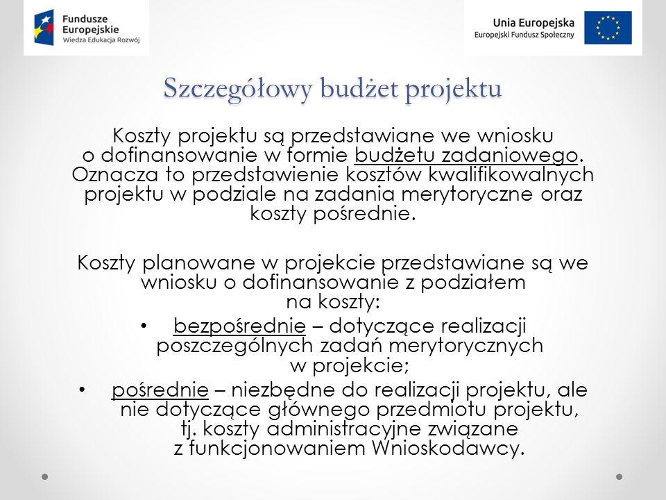 Szczegółowy budżet projektu Koszty projektu są przedstawiane we wniosku o dofinansowanie w formie budżetu zadaniowego.