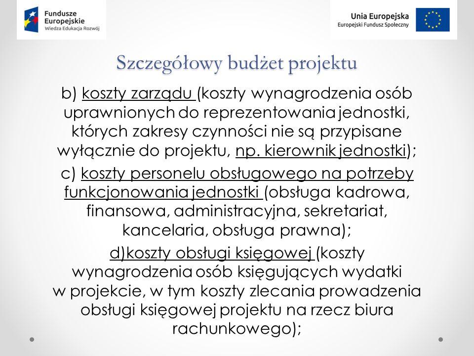Szczegółowy budżet projektu b) koszty zarządu (koszty wynagrodzenia osób uprawnionych do reprezentowania jednostki, których zakresy czynności nie są przypisane wyłącznie do projektu, np.