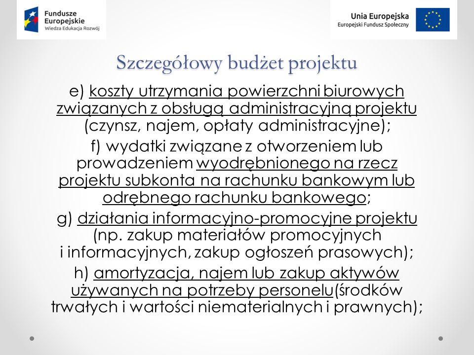 Szczegółowy budżet projektu e) koszty utrzymania powierzchni biurowych związanych z obsługą administracyjną projektu (czynsz, najem, opłaty administracyjne); f) wydatki związane z otworzeniem lub prowadzeniem wyodrębnionego na rzecz projektu subkonta na rachunku bankowym lub odrębnego rachunku bankowego; g) działania informacyjno-promocyjne projektu (np.