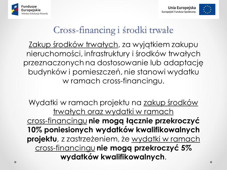 Cross-financing i środki trwałe Zakup środków trwałych, za wyjątkiem zakupu nieruchomości, infrastruktury i środków trwałych przeznaczonych na dostosowanie lub adaptację budynków i pomieszczeń, nie stanowi wydatku w ramach cross-financingu.