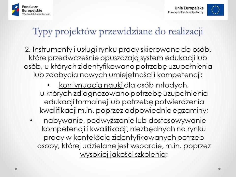 Typy projektów przewidziane do realizacji 2.