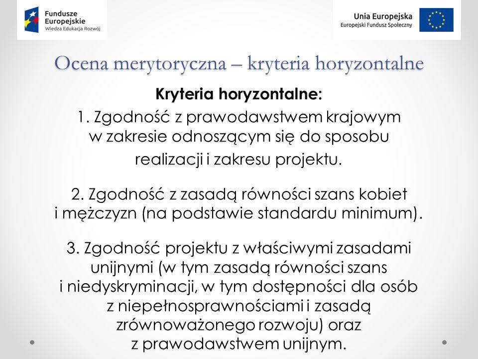 Ocena merytoryczna – kryteria horyzontalne Kryteria horyzontalne: 1.