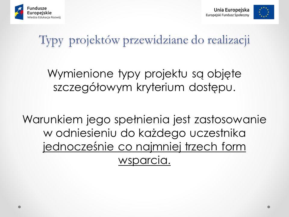 Typy projektów przewidziane do realizacji Wymienione typy projektu są objęte szczegółowym kryterium dostępu.