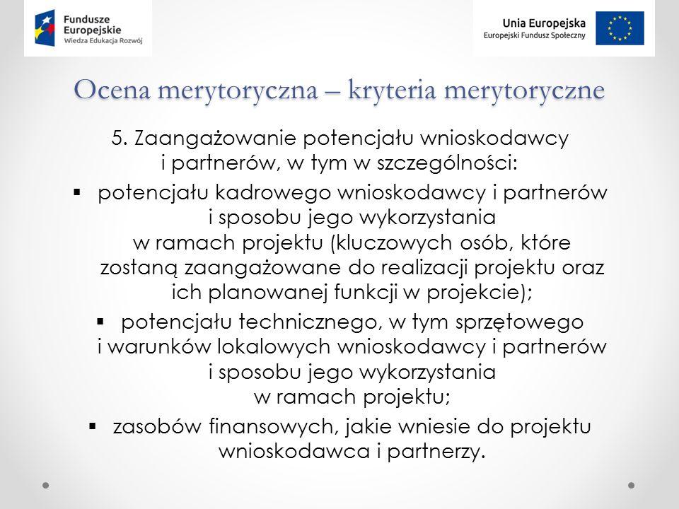 Ocena merytoryczna – kryteria merytoryczne 5.