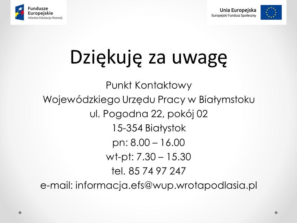 Dziękuję za uwagę Punkt Kontaktowy Wojewódzkiego Urzędu Pracy w Białymstoku ul.