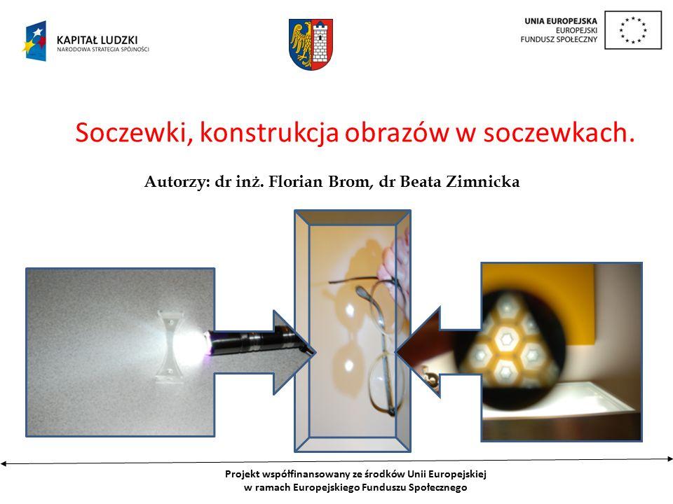 Projekt współfinansowany ze środków Unii Europejskiej w ramach Europejskiego Funduszu Społecznego Soczewki, konstrukcja obrazów w soczewkach.