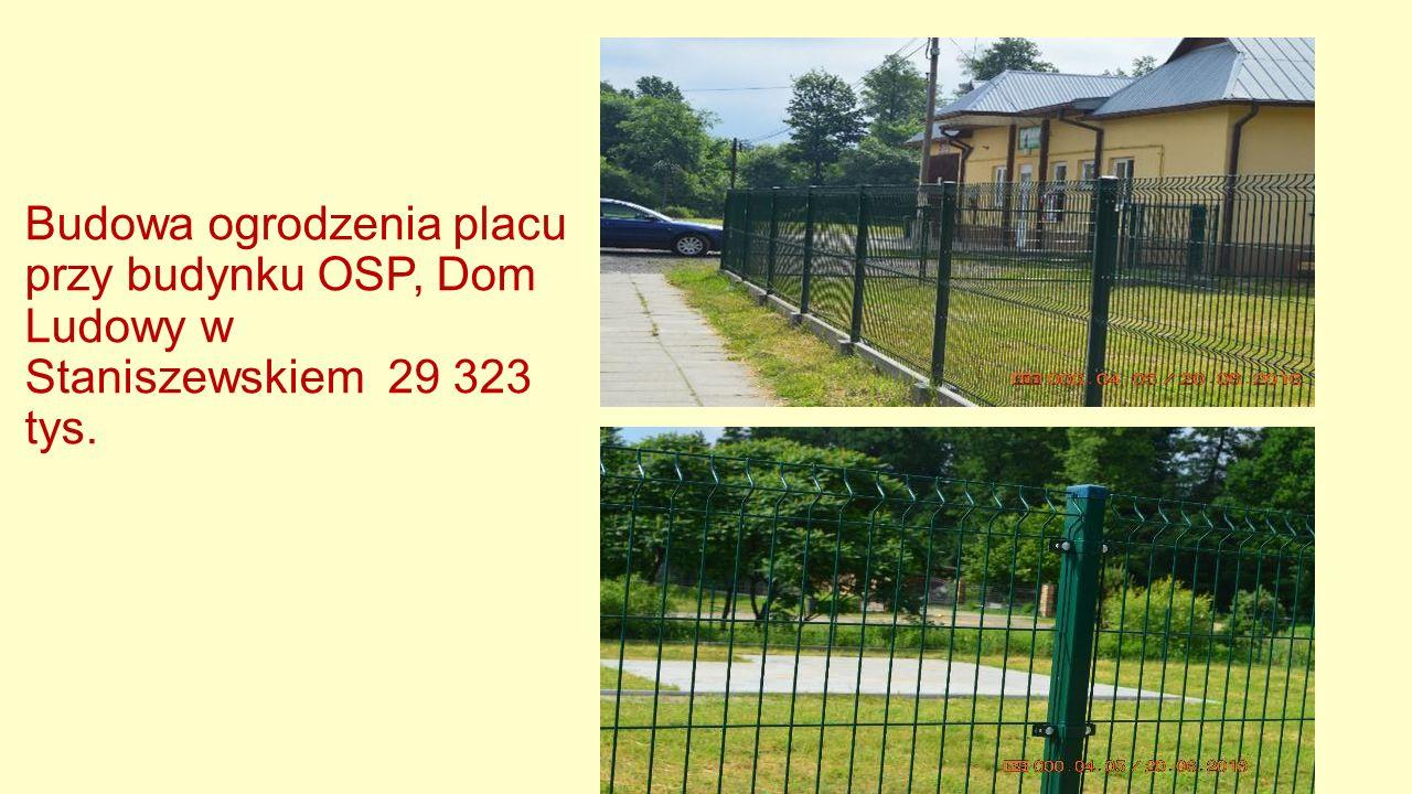 Budowa ogrodzenia placu przy budynku OSP, Dom Ludowy w Staniszewskiem 29 323 tys.