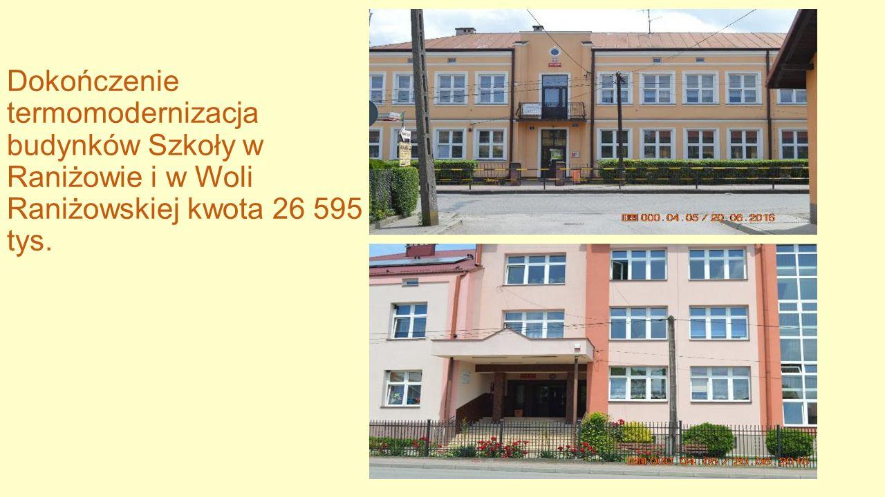 Dokończenie termomodernizacja budynków Szkoły w Raniżowie i w Woli Raniżowskiej kwota 26 595 tys.