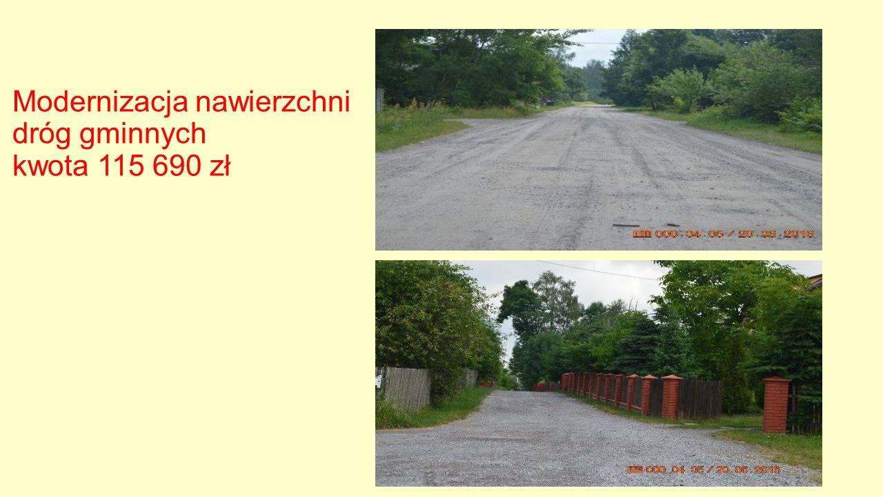Modernizacja nawierzchni dróg gminnych kwota 115 690 zł