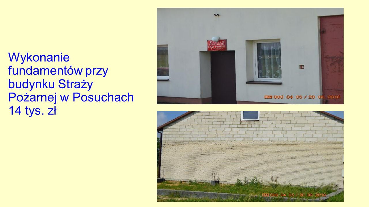 Wykonanie fundamentów przy budynku Straży Pożarnej w Posuchach 14 tys. zł