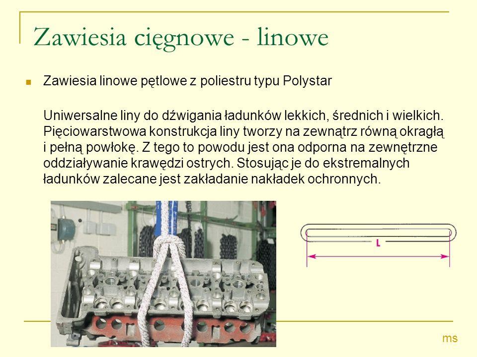 Zawiesia cięgnowe - linowe Zawiesia linowe pętlowe z poliestru typu Polystar Uniwersalne liny do dźwigania ładunków lekkich, średnich i wielkich.
