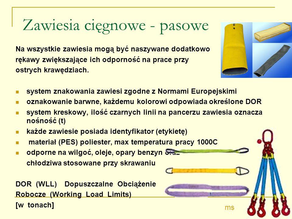 Zawiesia cięgnowe - pasowe Na wszystkie zawiesia mogą być naszywane dodatkowo rękawy zwiększające ich odporność na prace przy ostrych krawędziach.