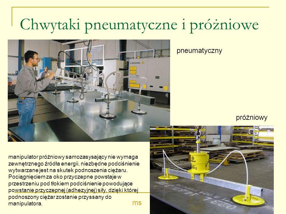 Chwytaki pneumatyczne i próżniowe manipulator próżniowy samozasysający nie wymaga zewnętrznego źródła energii, niezbędne podciśnienie wytwarzane jest