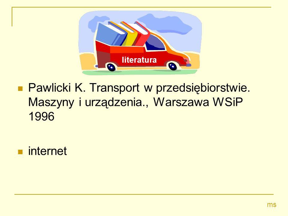 Pawlicki K. Transport w przedsiębiorstwie. Maszyny i urządzenia., Warszawa WSiP 1996 internet ms literatura