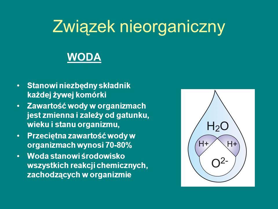Związek nieorganiczny WODA Stanowi niezbędny składnik każdej żywej komórki Zawartość wody w organizmach jest zmienna i zależy od gatunku, wieku i stanu organizmu, Przeciętna zawartość wody w organizmach wynosi 70-80% Woda stanowi środowisko wszystkich reakcji chemicznych, zachodzących w organizmie