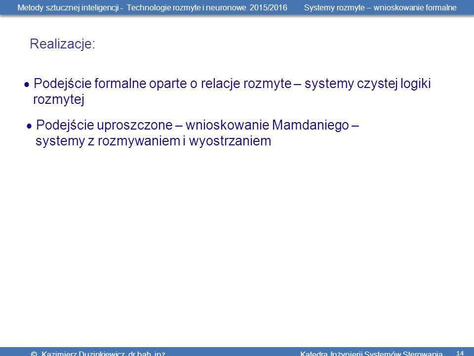 Metody sztucznej inteligencji - Technologie rozmyte i neuronowe 2015/2016 Systemy rozmyte – wnioskowanie formalne © Kazimierz Duzinkiewicz, dr hab.