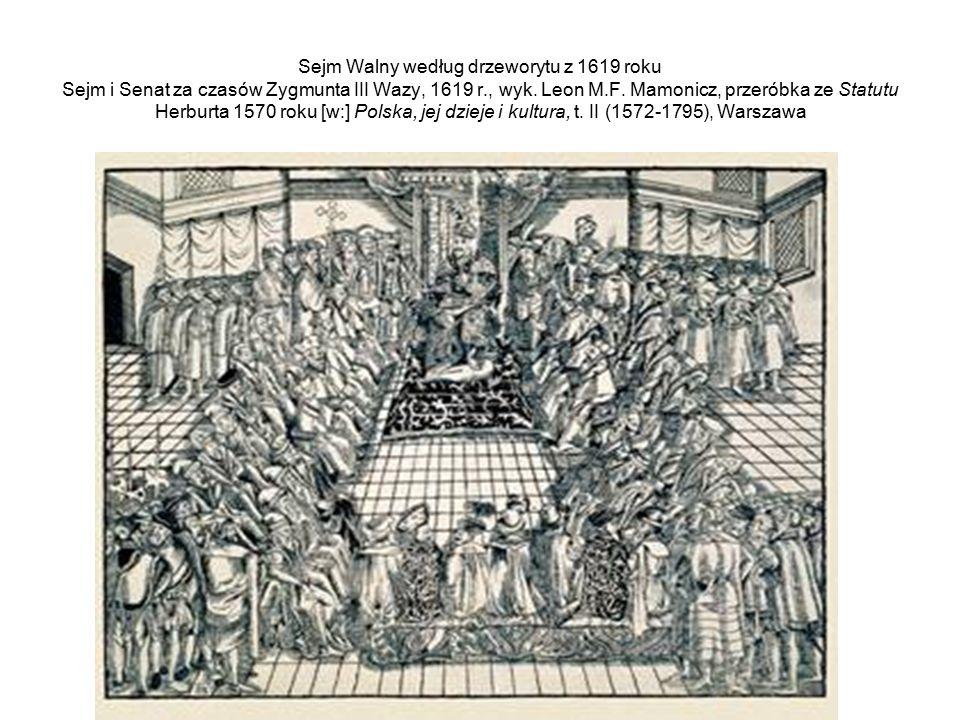 Sejm Walny według drzeworytu z 1619 roku Sejm i Senat za czasów Zygmunta III Wazy, 1619 r., wyk. Leon M.F. Mamonicz, przeróbka ze Statutu Herburta 157