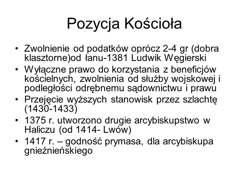 Pozycja Kościoła Zwolnienie od podatków oprócz 2-4 gr (dobra klasztorne)od łanu-1381 Ludwik Węgierski Wyłączne prawo do korzystania z beneficjów kości
