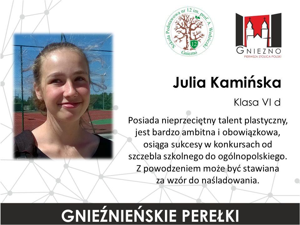 Julia Kamińska Klasa VI d Posiada nieprzeciętny talent plastyczny, jest bardzo ambitna i obowiązkowa, osiąga sukcesy w konkursach od szczebla szkolnego do ogólnopolskiego.