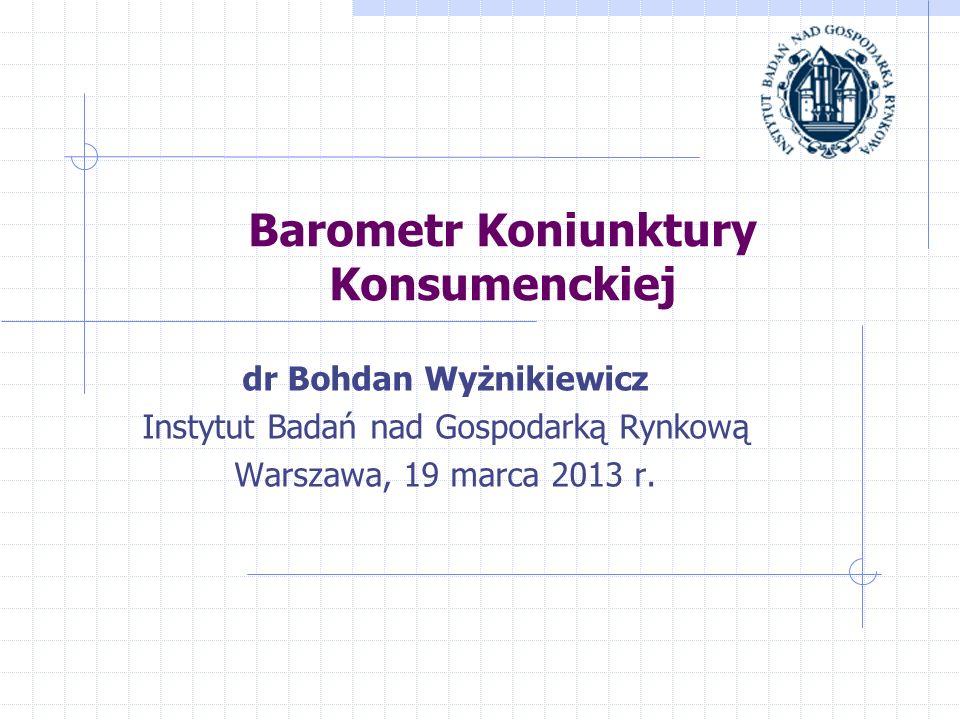 Barometr Koniunktury Konsumenckiej dr Bohdan Wyżnikiewicz Instytut Badań nad Gospodarką Rynkową Warszawa, 19 marca 2013 r.
