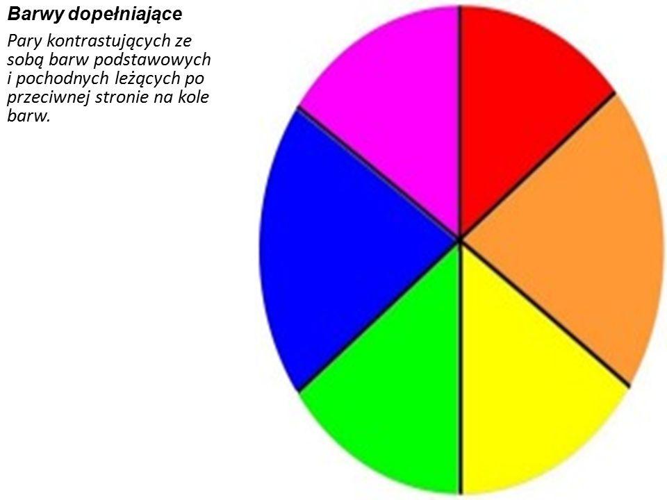 Barwy ciepłe i zimne Barwy ciepłe- kolory: czerwony, pomarańczowy, żółty i ich odcienie. Barwy zimne- kolory: zielony, niebieski, fioletowy i ich odci