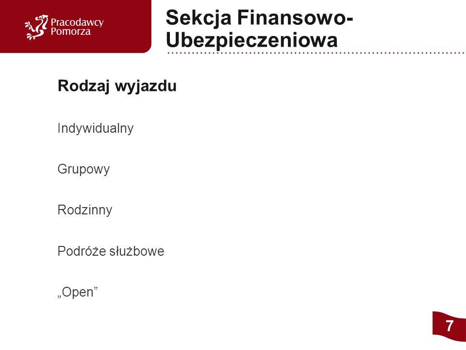 """Indywidualny Grupowy Rodzinny Podróże służbowe """"Open Rodzaj wyjazdu 7 Sekcja Finansowo- Ubezpieczeniowa"""