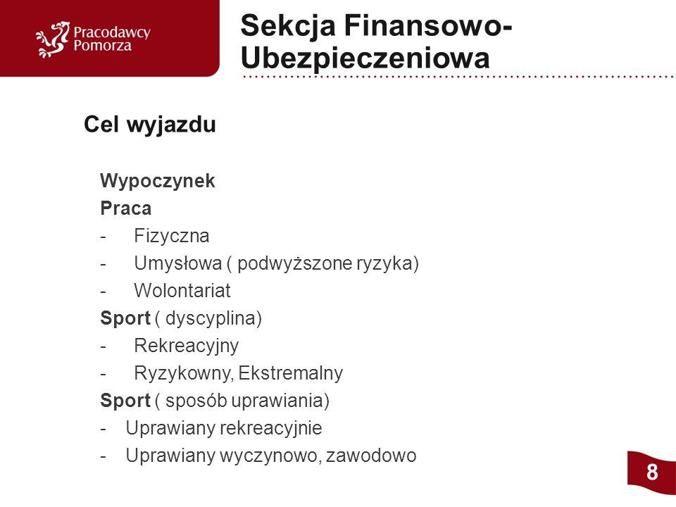 Wypoczynek Praca - Fizyczna - Umysłowa ( podwyższone ryzyka) - Wolontariat Sport ( dyscyplina) - Rekreacyjny - Ryzykowny, Ekstremalny Sport ( sposób uprawiania) - Uprawiany rekreacyjnie - Uprawiany wyczynowo, zawodowo Cel wyjazdu 8 Sekcja Finansowo- Ubezpieczeniowa