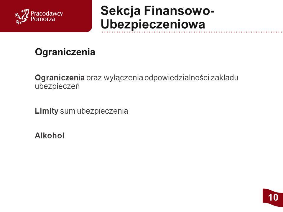 Ograniczenia oraz wyłączenia odpowiedzialności zakładu ubezpieczeń Limity sum ubezpieczenia Alkohol Ograniczenia 10 Sekcja Finansowo- Ubezpieczeniowa
