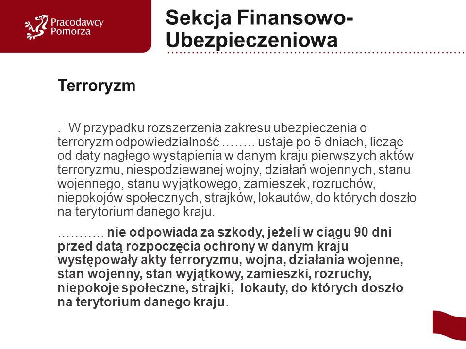 W przypadku rozszerzenia zakresu ubezpieczenia o terroryzm odpowiedzialność ……..
