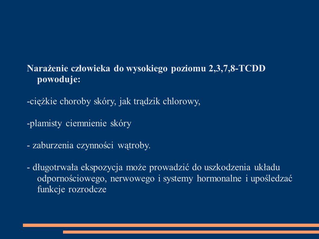 Narażenie człowieka do wysokiego poziomu 2,3,7,8-TCDD powoduje: -ciężkie choroby skóry, jak trądzik chlorowy, -plamisty ciemnienie skóry - zaburzenia czynności wątroby.