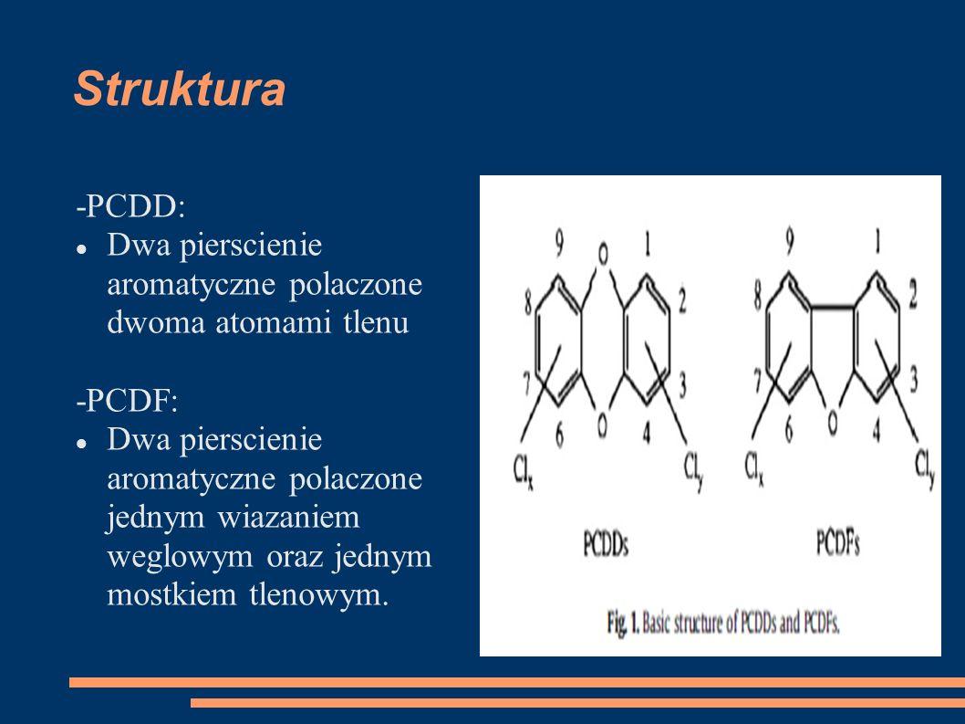 Struktura -PCDD: Dwa pierscienie aromatyczne polaczone dwoma atomami tlenu -PCDF: Dwa pierscienie aromatyczne polaczone jednym wiazaniem weglowym oraz jednym mostkiem tlenowym.