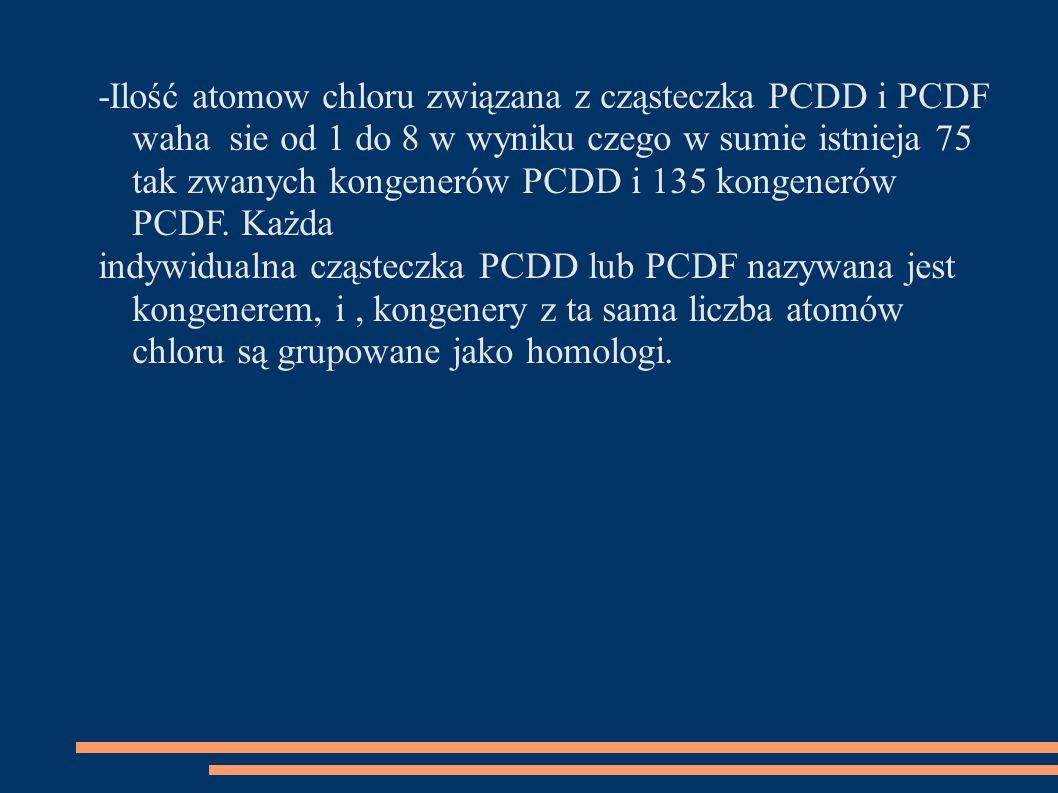 -Ilość atomow chloru związana z cząsteczka PCDD i PCDF waha sie od 1 do 8 w wyniku czego w sumie istnieja 75 tak zwanych kongenerów PCDD i 135 kongenerów PCDF.